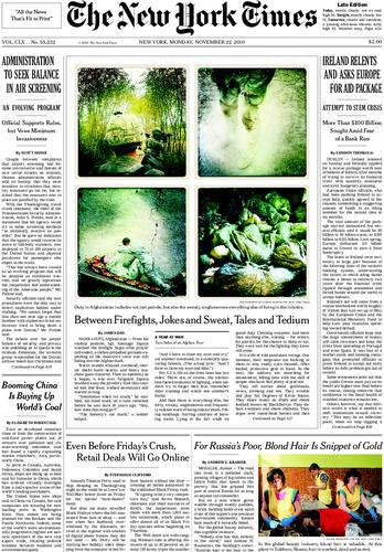 NY Times Front Page featuring iPhone images