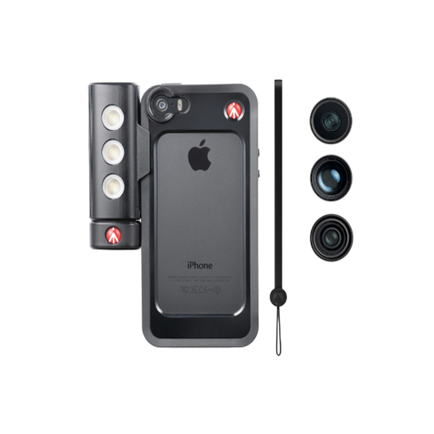 Manfrotto KYLP iPhone 5 bumper +3 lenses+SMT LED with tripod mount